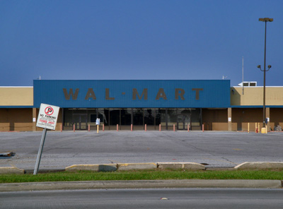 abandoned Walmart and parking lot